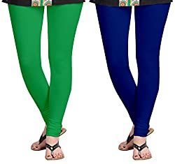 Aannie Women's Cotton Slim Fit Leggings Combo Pack of 2(XX-Large,Grass Green,Royal Blue)