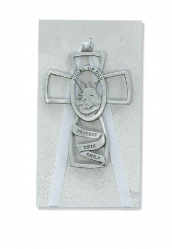 Pewter Guardian Angel Crib Cross for Babies