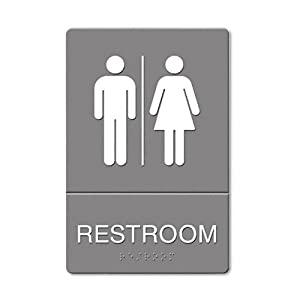 HeadLine ADA Approved Restroom Sign, Restroom Symbol Tactile Graphic, Molded Plastic, 6 x 9 Inches (4812)
