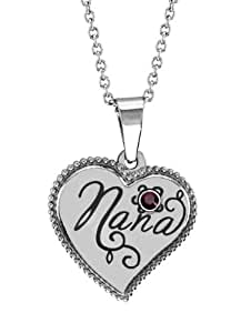 Stainless Steel Nana Heart Shaped Pendant January Birthstone