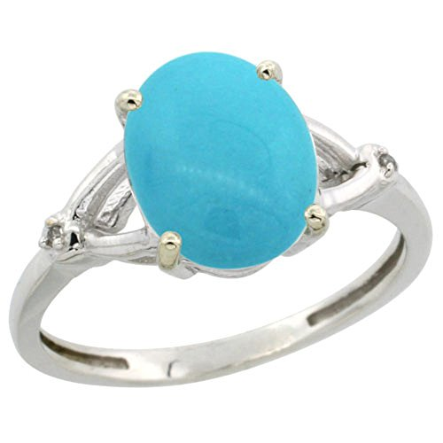 Sterling Silver Diamond Sleeping Beauty Turquoise Ring Oval 10×8 mm, size 8