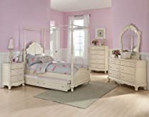 Hot Sale Homelegance Cinderella 5 Piece Canopy Poster Bedroom Set In Antique White
