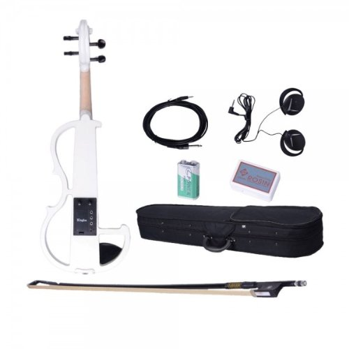 Dszb-0012 4/4 White Electric Acoustic Violin With Rosin Bow Case Headphone And Line