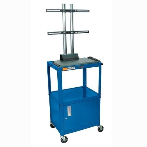 Luxor Adjustable Height Flat Panel Cart With Cabinet Avj42C-Lcd Color: Royal Blue
