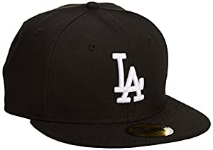 MLB Los Angeles Dodgers Black with White 59FIFTY Fitted Cap, 6 7/8