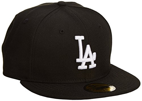 Mlb Los Angeles Dodgers Black With White 59Fifty Fitted Cap, 7 1/8