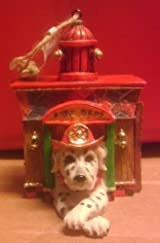 RESIN FIRE DOG IN HOUSE ORNAMENT (KURT ADLER)