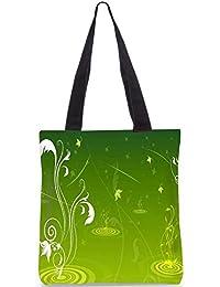 Snoogg Abstract Green Design Digitally Printed Utility Tote Bag Handbag Made Of Poly Canvas