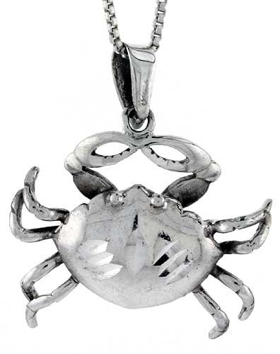 Sterling Silver Crab Pendant, 1 inch tall