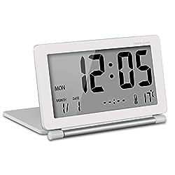 KLAREN KLAREN Multifunction Silent LCD Digital Large Screen Travel Desk Electronic Alarm Clock, Date/Time/Calendar/Temperature Display, Snooze, Folding White & Silver