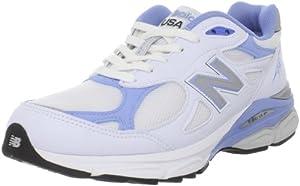 New Balance - - 990v3 la stabilité de femmes Chaussures de course, EUR: 36 EUR - Width B, White with Blue & Grey