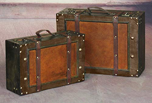 Vintiquewise(TM Old Style Suitcase/Decorative Box with Straps, Set of 2