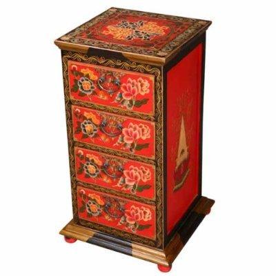 Cheap EXP Handmade Asian Furniture – 32″ Red & Black Tibetan Dresser / End Table With Sacred Flower Design (B0015GXB90)