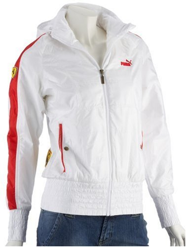 Girls Ladies Puma Ferrari Hooded Formula 1 Sport Jacket White / Red Size Uk 12 / Eu 42