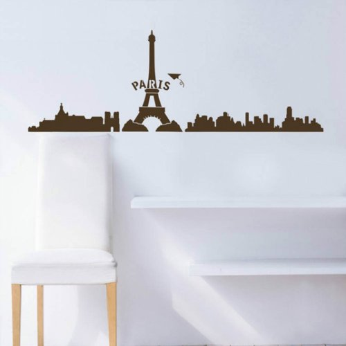 Paris Eiffel Tower City Wall Sticker Decal Home Decor For Living Bed Room Study Studio Bar, Coffee