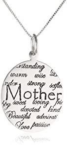 "Mother's Day Gifts:Sterling Silver ""Mom, Understanding, Warm, Wise, Strong, Loving, Sweet, Devoted, Beautiful, I Love You"" Circle Graffiti Pendant Necklace , 18″"