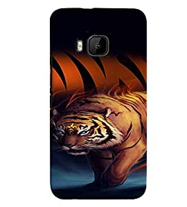 Fuson Premium Tiger Stripes Printed Hard Plastic Back Case Cover for HTC One M9