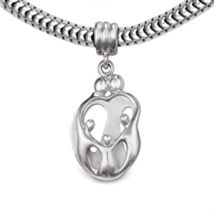 Loving Family® Sterling Silver Heart Gift Charm Parents and 3 Children - Fits Pandora European Charm Bracelets