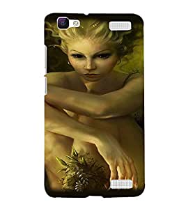 Printvisa Haunted Girl With Scary Eyes Back Case Cover for vivo V1 Max