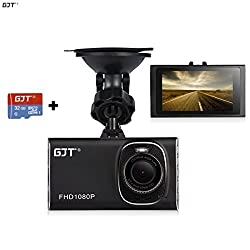 GJT®GJT-A100 3.0 Inch Screen Full HD Silm Car Camera Dash Cam 170-Degree wide-angle+G sensor+Night Vision with FREE 32GB TF card