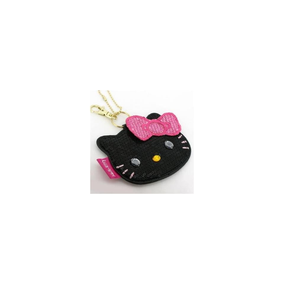 Sanrio Hello Kitty Sparkling Face Mirror Ball Chain (Black)