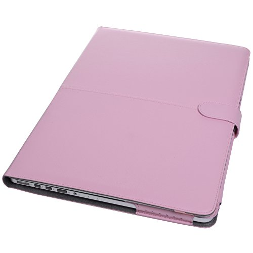 Case Star® Pink Color Premium Quality Protective PU Leather Carry Case Cover with Magnetic Snap Closure for Apple Macbook Pro 13-inch with Retina Display