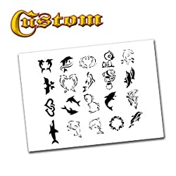 Airbrush Tattoo Stencil Set 51 Book of 20 Dolphin Templates