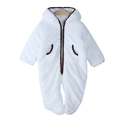 Infant Baby Boys Girls Winter Fleece Bear Bunting Outfits Snowsuit Romper Outwear Footy 3-6M