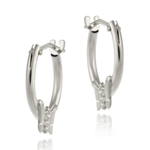 10K White Gold Mini Hoop Butterfly Earrings