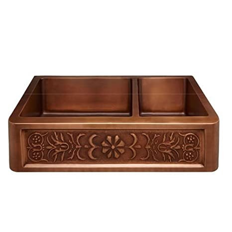 "Barclay FSCDB3512-SAC Sicily 33"" Offset Double Bowl Copper Farmer Sink"