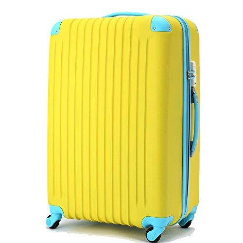 【選べるカラー、サイズ豊富】 1STDOOR 超軽量スーツケース TSAロック付 【一年保証】 ABSマット仕上げ 4輪静音キャスター 便利なファスナータイプsuitcase (Sサイズ(機内持込OK/1-3泊用/34L), イエロー)