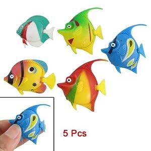 Como 5 Pcs Plastic Floating Tropical Fishes Ornament for Aquarium