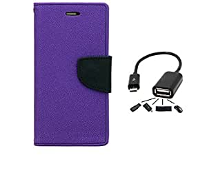 Online Street Wallet Style Flip With OTG Cable For htc 526 - (Orchid Purple + OTG)