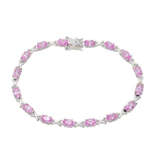 Silver Pink Cubic Zirconia Hugs & Kisses Bracelet 19cm