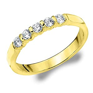 14K Yellow Gold Diamond Bar Set Wedding Band (.25 cttw, H-I Color, I1-I2 Clarity) Size 4