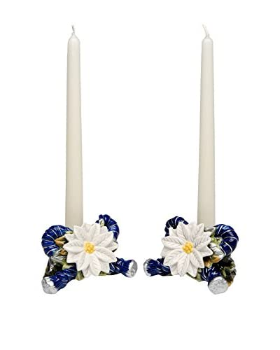 Cosmos Set of 2 Silver Blue Taper Candleholders