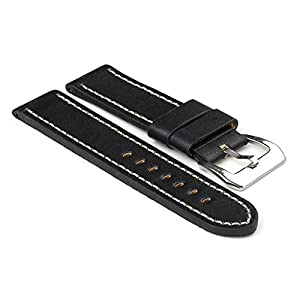 StrapsCo Black with White Stitching Thick Leather 24mm Watch Strap