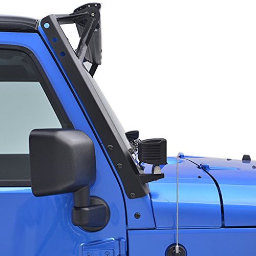 E-Autogrilles 07-15 Jeep Wrangler JK Windshield Mounting Brackets for 50″&2″ LED Lights(Pair) (51-0451)