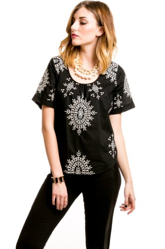 Contrast Stitched Tunic in Black/White