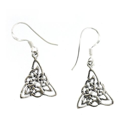 .925 Sterling Silver Nickel Free Holy Complicated Trefoil Knot Celtic Trinity French Hook Earrings