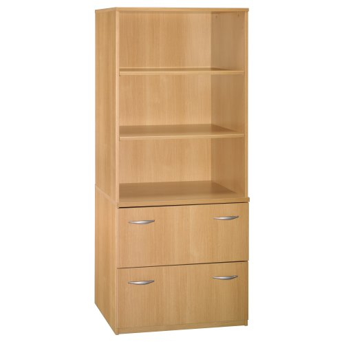 Bush Furniture Universal Wall System Lateral File Storage, Light Oak