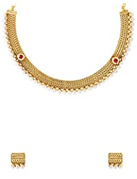 Voylla Golden Necklace Set With Gleaming Pearl Beads Embellishment