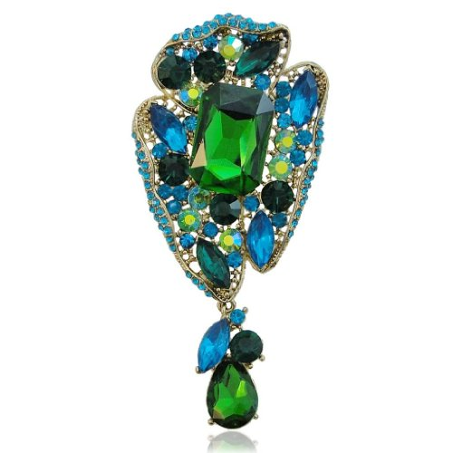 4 Inch Flower Leaf Green Blue Austrian Crystal