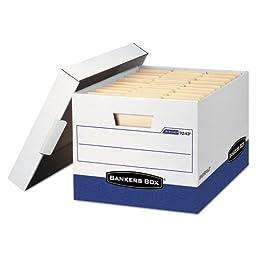 R-Kive Max Storage Box, Letter/Legal, Locking Lid, White/Blue, 4/Carton, Sold as 1 Carton