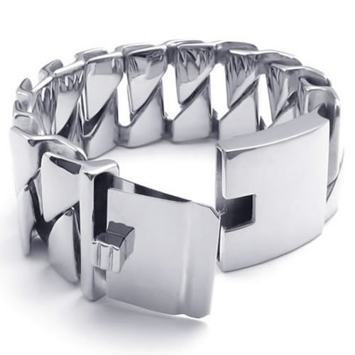 Konov Jewellery Heavy Large Wide Stainless Steel Bangle Biker Mens Bracelet, Colour Silver (with Gift Bag)