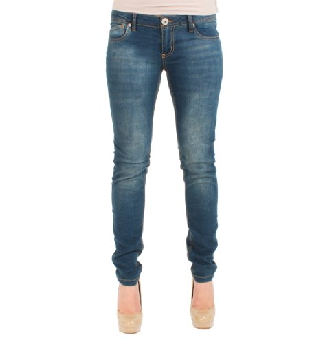 Celebrity Pink Straight Leg Distressed Wash Jeans in Light Denim, 1