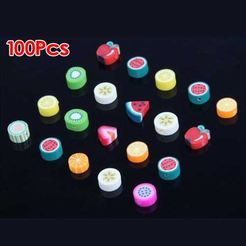 SODIAL(R) 100 Mixed Color Fimo Polymer Clay Fruit Spacer Beads