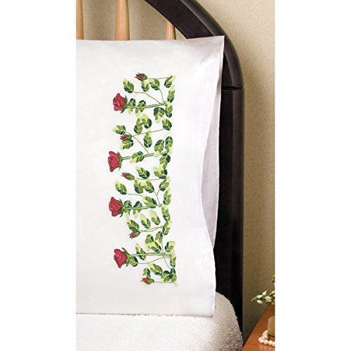 20 by 30-Inch Rose Row Tobin Stamped Pillowcase Pair Stamped Cross Stitch Kit for Embroidery