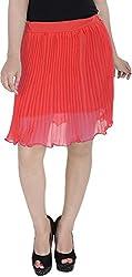 Soundarya Women's Regular Fit Skirt (Orange, 24)