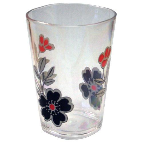 Corelle Coordinates Mandarin Flower 8-Ounce Acrylic Square Glasses, Set of 6